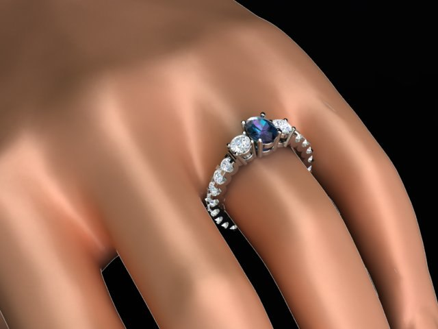 3D gems ring oval fancy model