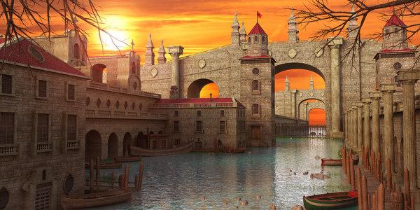 fantasy town water 3D model
