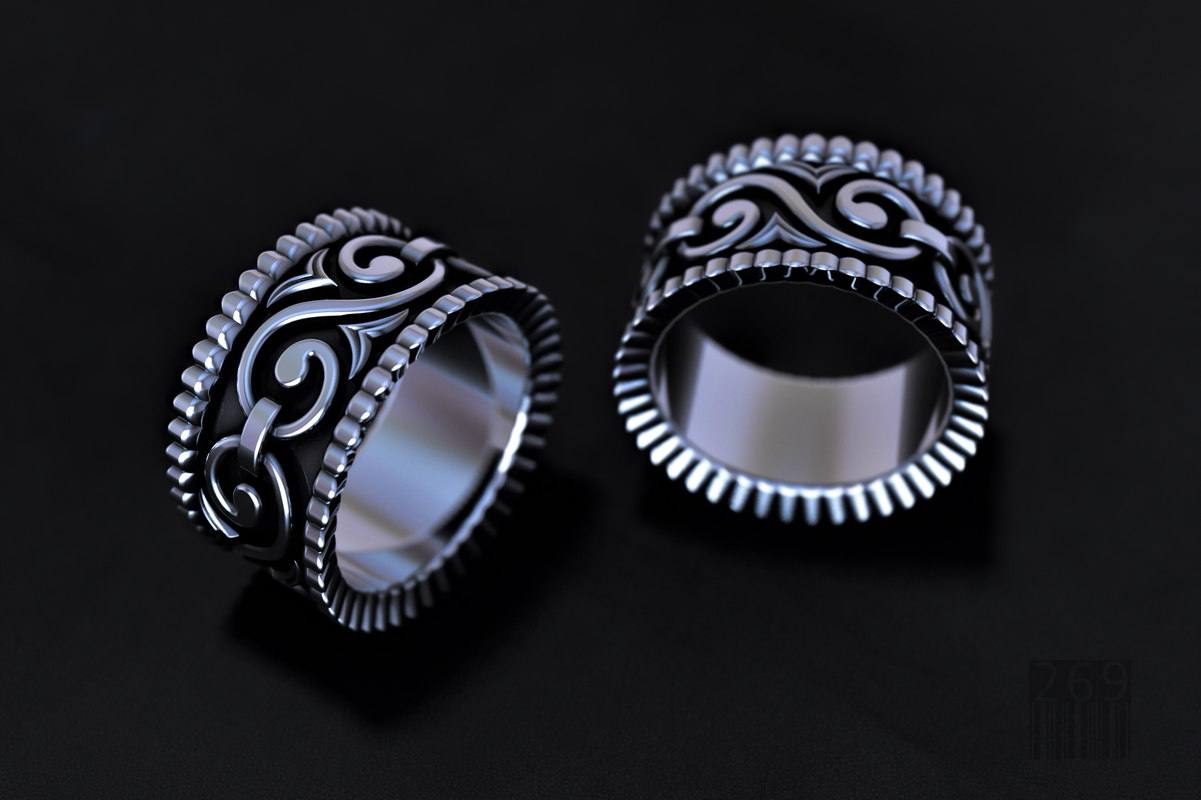 silver ring patterns 3D