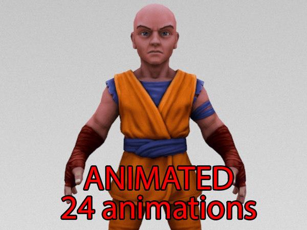 3D monk fighter model