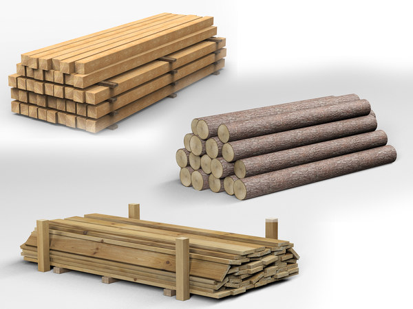 collections wooden planks beams 3D model