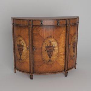 3D demilune cabinet model