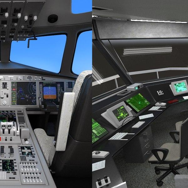 3D air tower aircraft cockpit model