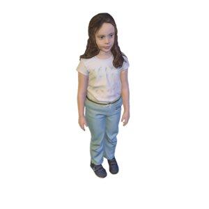 scanned girl standing 3D model