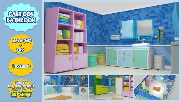 cartoon bathroom 3D