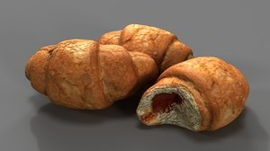 3D croissant realistic model