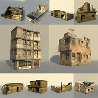 Middle East destroyed houses collection for game