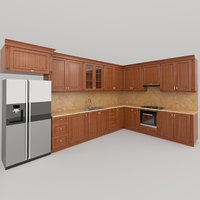 kitchen classic wooden 3D model
