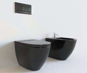 3D realistic toilet interior model