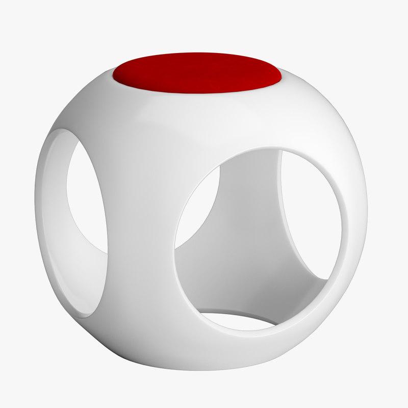 3d minimalist lightweight sphere stool model