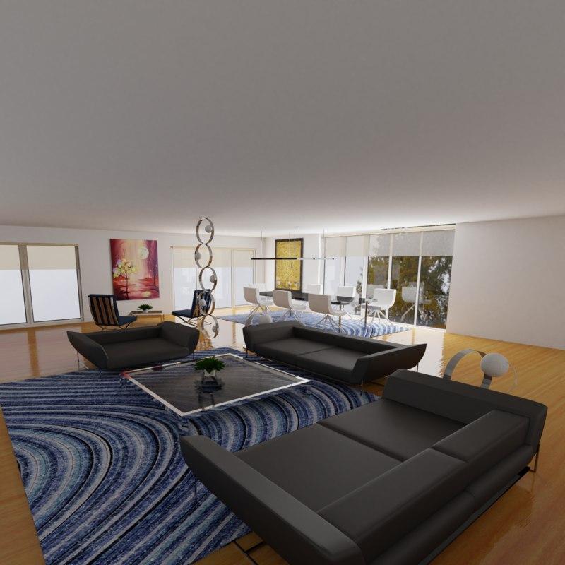 modern living room model