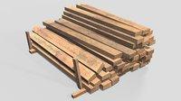 3D wooden wood beam