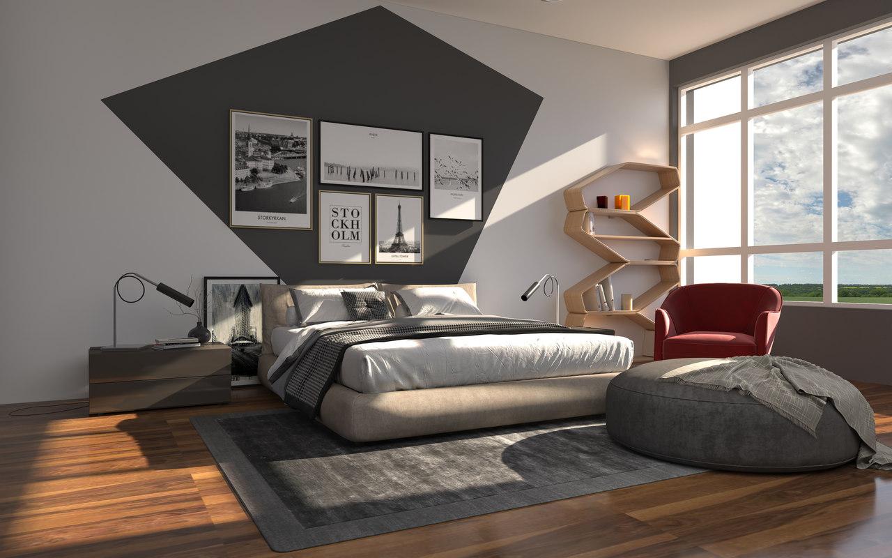 Modern bedroom bed 3d model turbosquid 1343302