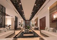 family modern contemporary living room 3D model