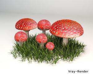3D mushroom amanita muscaria