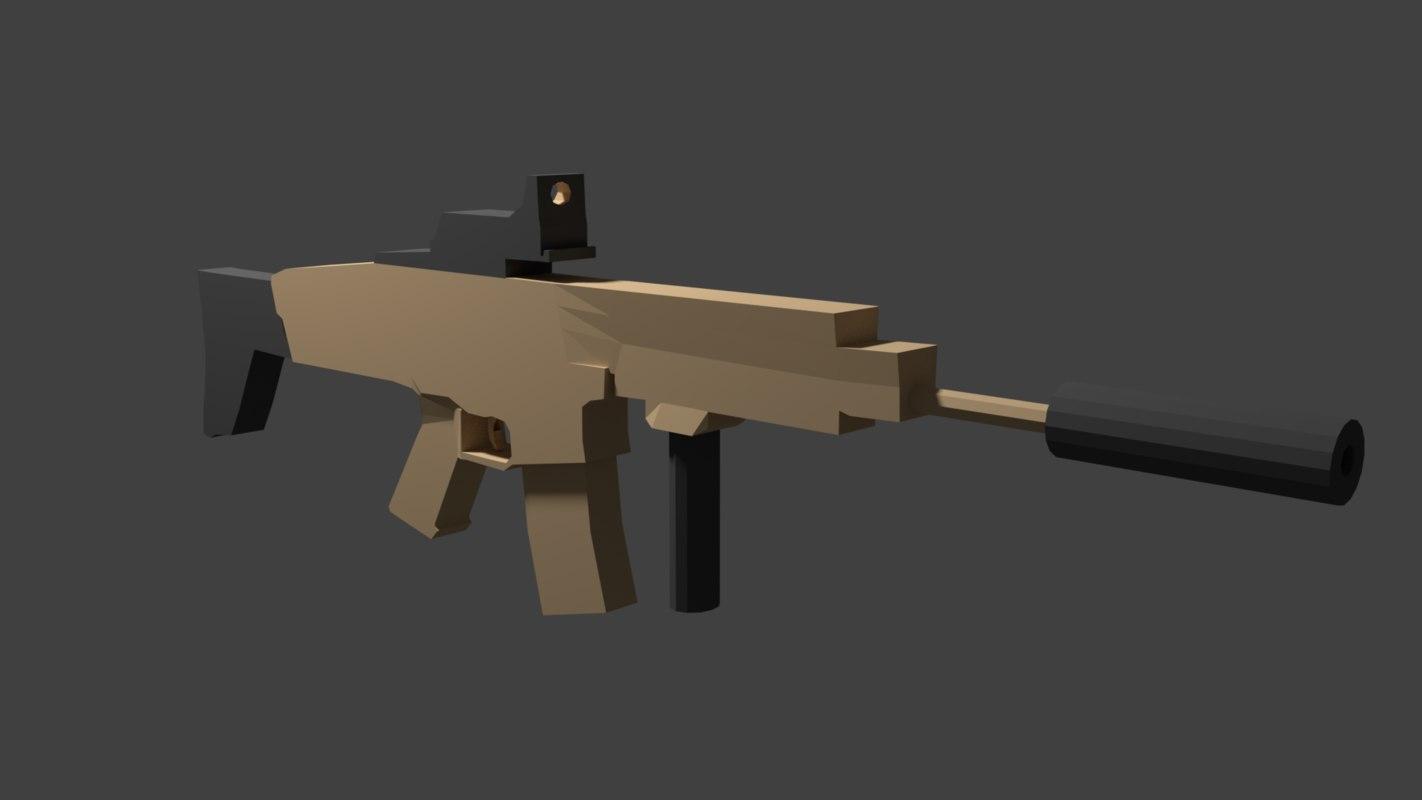 3D fn scar assault rifle model