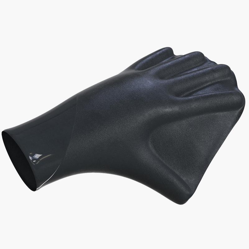 3D model bodyboarding webbed gloves v2