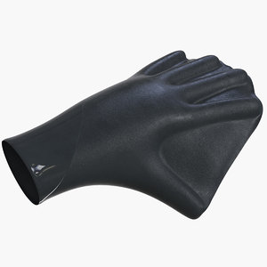 3D model bodyboarding webbed gloves v2