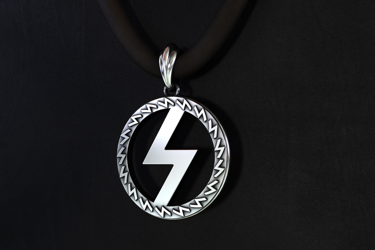 silver pendant runes power 3D model