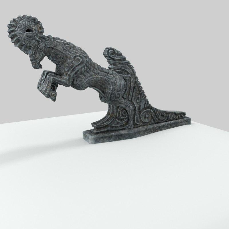 3D nordic statue ram entrance
