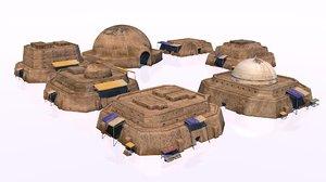 arab architecture buildings desert 3D model