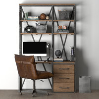 3D french library single desk