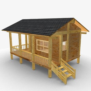 small wooden cabin 3D model