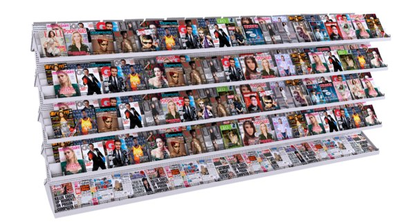 3D newspaper display stand model