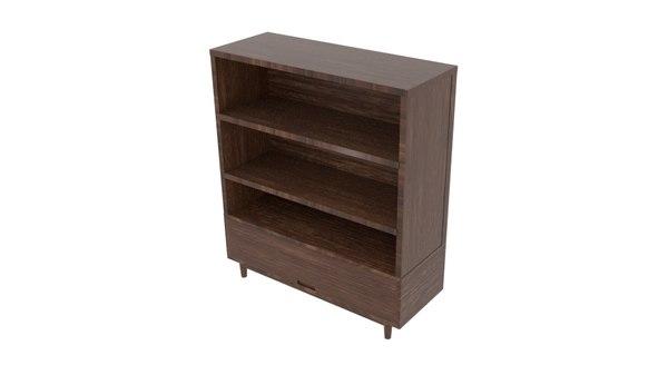 3D black wood big cabinet