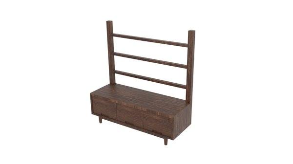 blackwood oak table cupboard 3D model