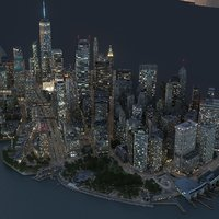 Manhattan Lower Part1 2 3 Night  Low Poly