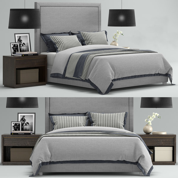3D model rh wallace upholstered bed interior