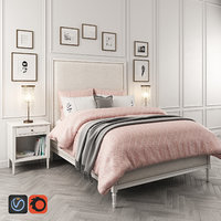 3D maelin upholstered bed table lamp model
