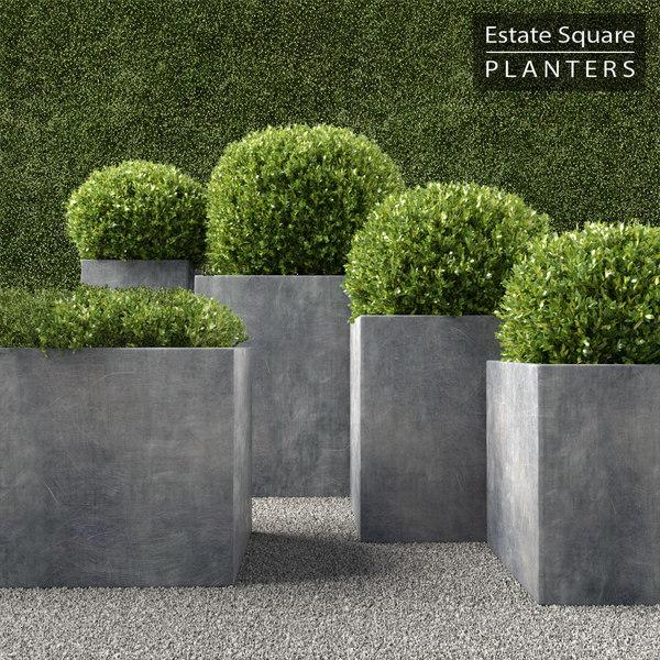 realistic planters square 3d max