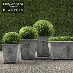 3d max realistic planters square ring
