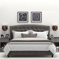 RH Warner Tufted Fabric Bed