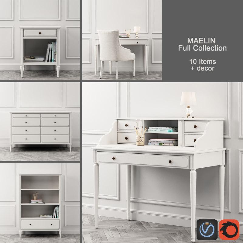 maelin desk storage 3D model
