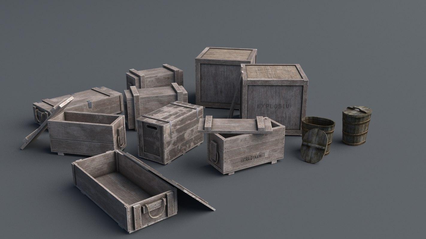 wooden box set wood 3D model
