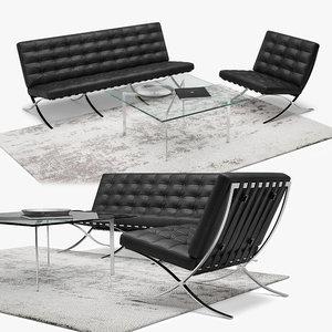 3D model sofa armchair barcelona