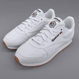 reebok classic leather white 3D model