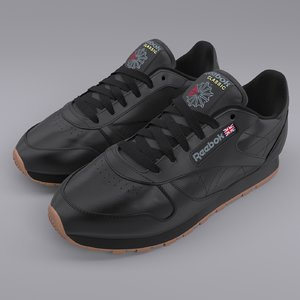 reebok classic leather black 3D
