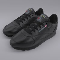 3D reebok classic leather black