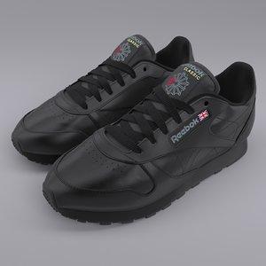 3D reebok classic leather black