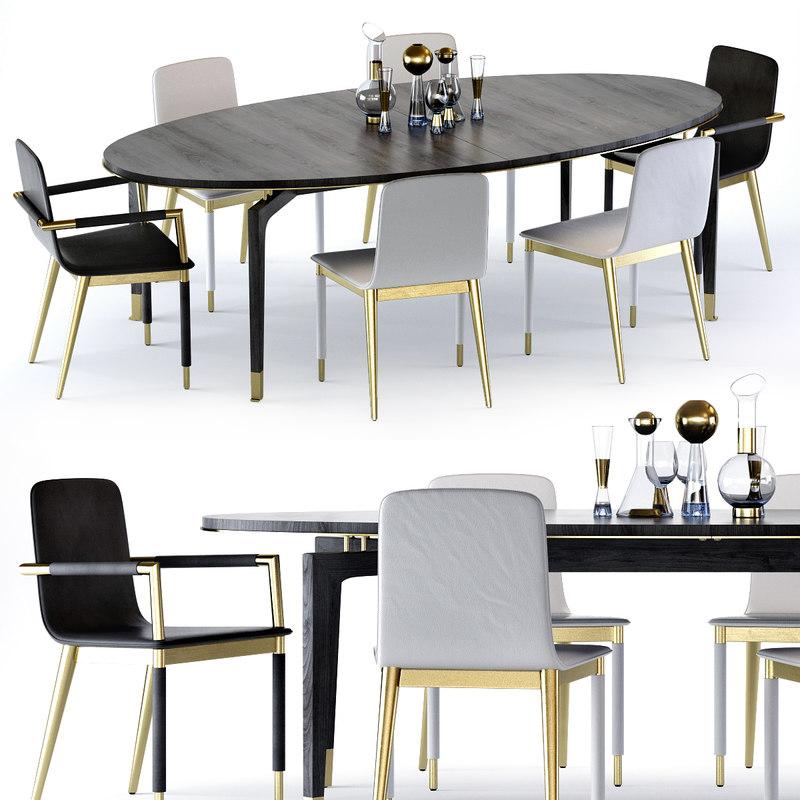 vendome table folio chair 3D model