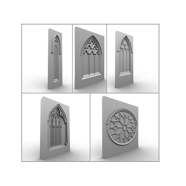 medieval gothic 5 windows 3d model