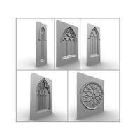 medieval gothic 5 windows 3d model