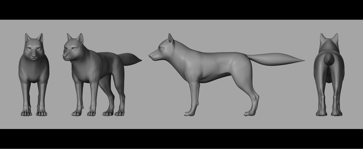 3D wolf rigged expressions