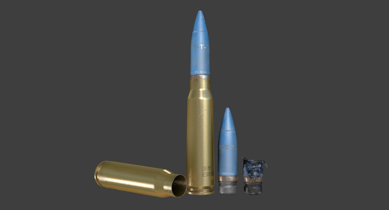 20mm bullet cartridge 3D model
