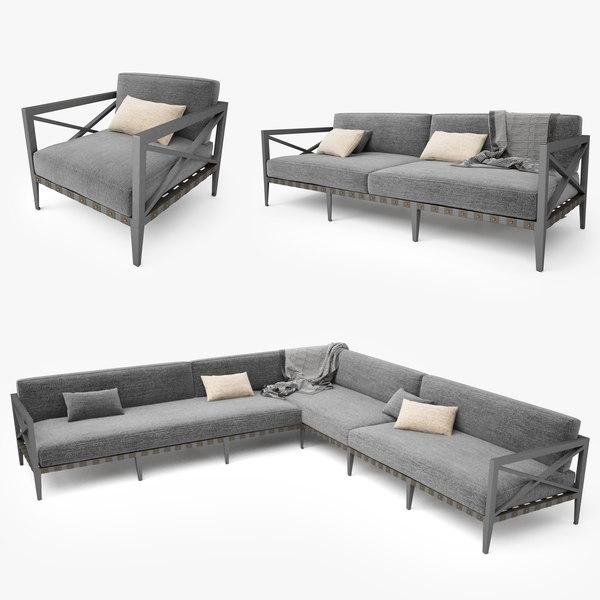 3d restoration hardware mustique sofa