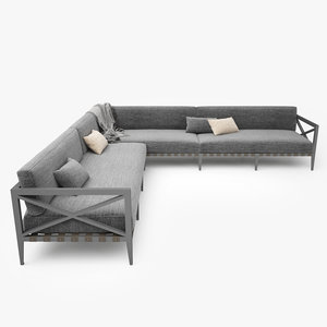 restoration hardware mustique corner sofa 3d model